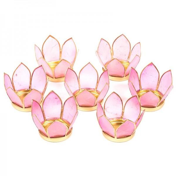 7 Teelichthalter aus Capiz Muscheln ca. 8 cm, rosa