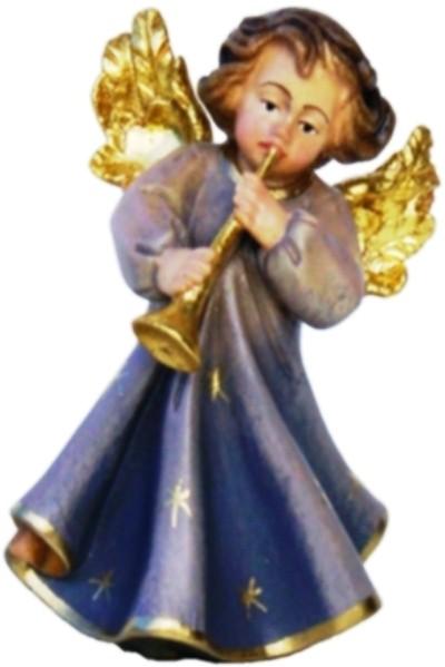 Engel mit Trompete, Ahornholz, farbig lasiert
