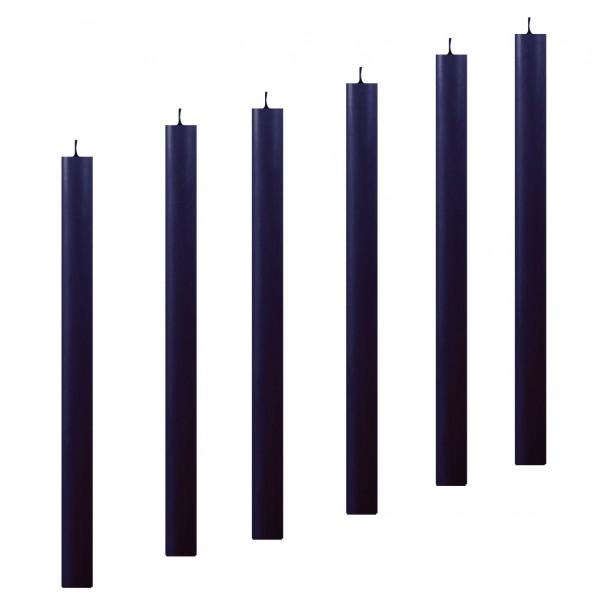 6 Stabkerzen Leuchterkerzen blau marine arte 22 x 300 mm