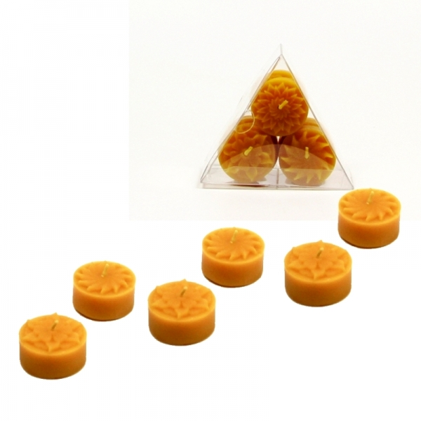 6 Königs Teelichte mit Motiven - 100 % Bienenwachs