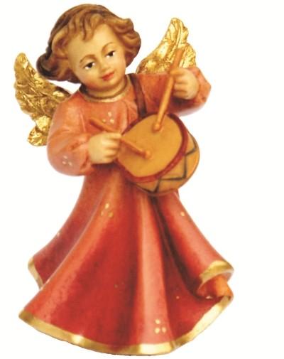 Engel mit Trommel, Ahornholz, farbig lasiert