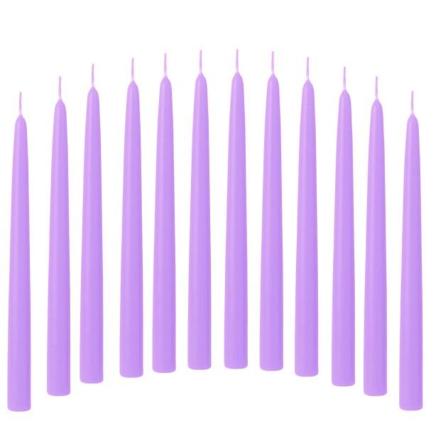 12 Spitzkerzen violett 21/240 mm durchgefärbtes Wachs