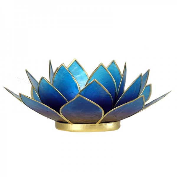 Lotus Teelichthalter, Kerzenhalter blau