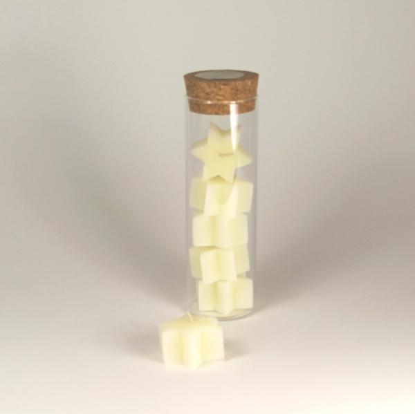 5 Sternen Teelichter im Glas elfenbein - 100 % Bienenwachs