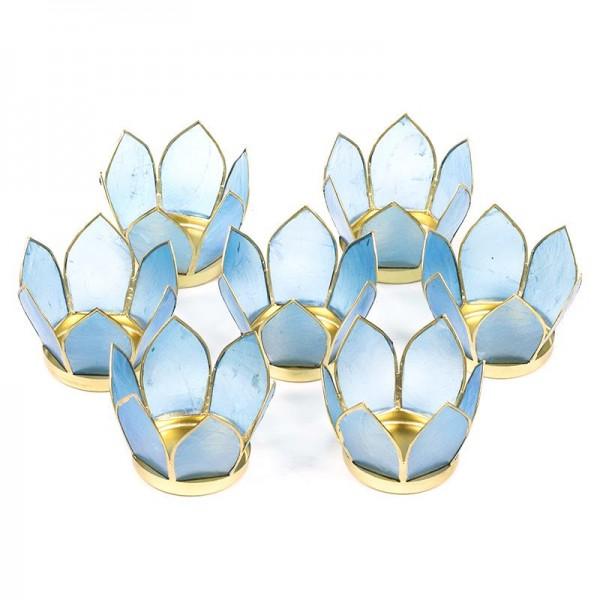 7 Teelichthalter aus Capiz Muscheln ca. 8 cm, blau