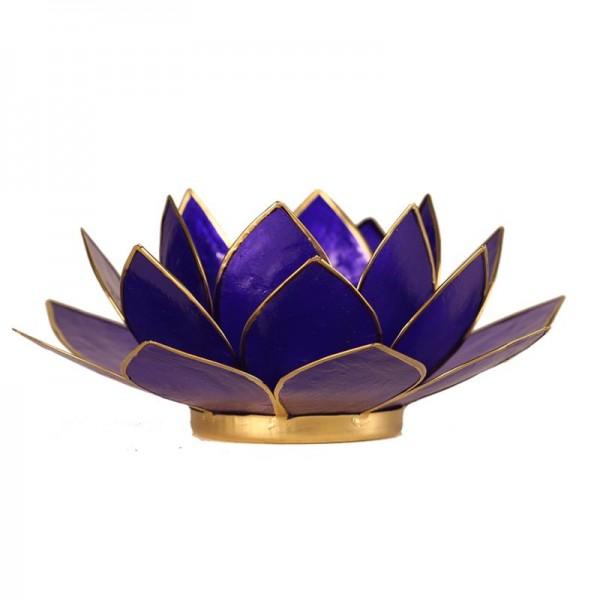 Lotus Teelichthalter, Kerzenhalter Indigo
