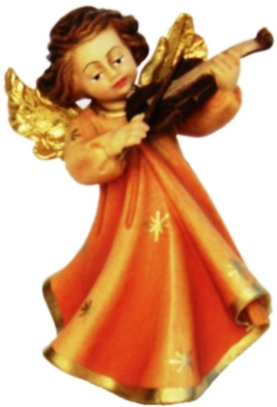 Engel mit Violine, Ahornholz, farbig lasiert