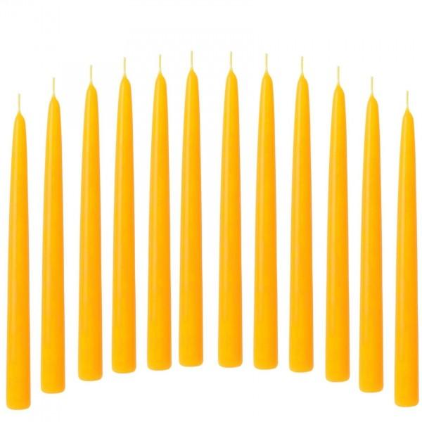 Spitzkerze Leuchterkerze gelb 12 Stück 21/240 mm