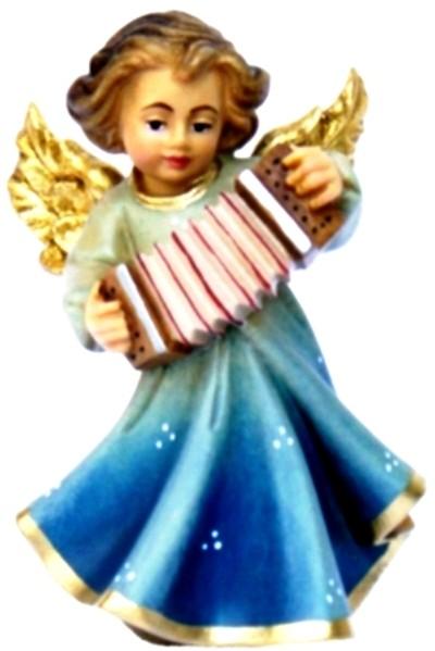 Engel mit Accordeon, Ahornholz, farbig lasiert