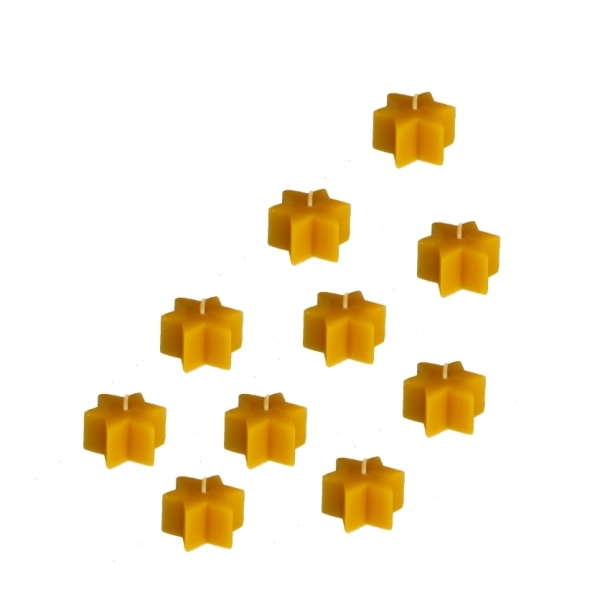10 Sternen Teelichter Bienenwachs natur