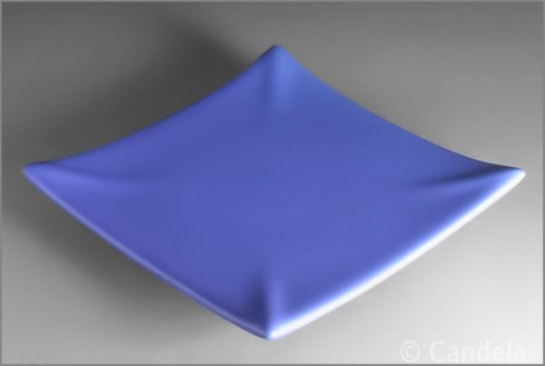 Kerzenuntersetzer aus Keramik blau