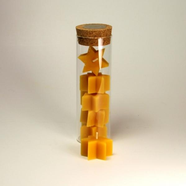 5 Sternen-Teelichter Bienenwachs natur
