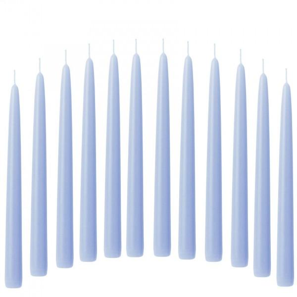Spitzkerze Leuchterkerze 12 Stück blau hellblau 21/240 mm durchgefärbtes Wachs