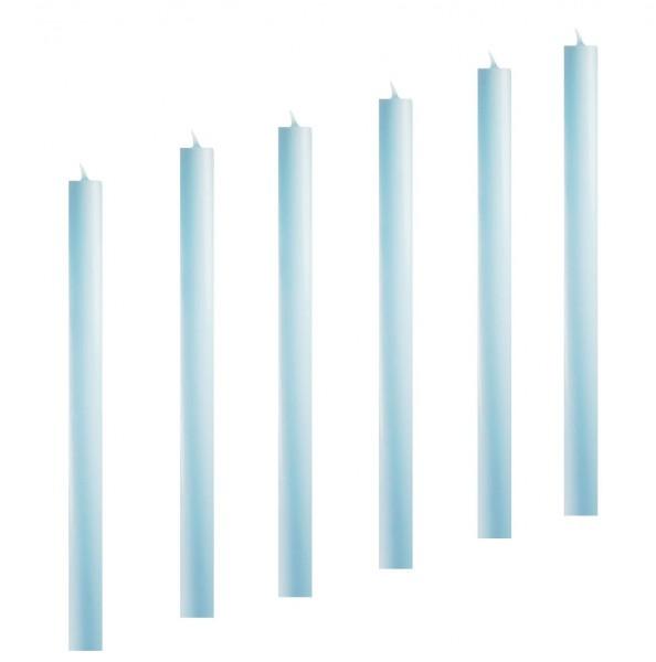 6 Stabkerzen Leuchterkerzen blau hellblau arte 22 x 300 mm