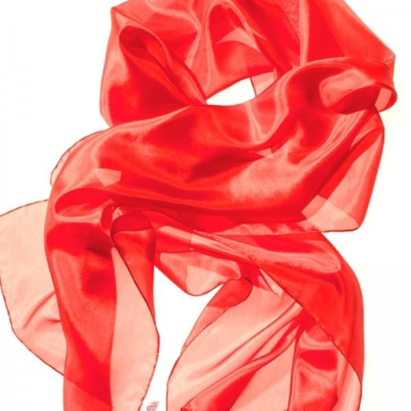 Seidenschal 100 % Seide rot 180 x 45 cm