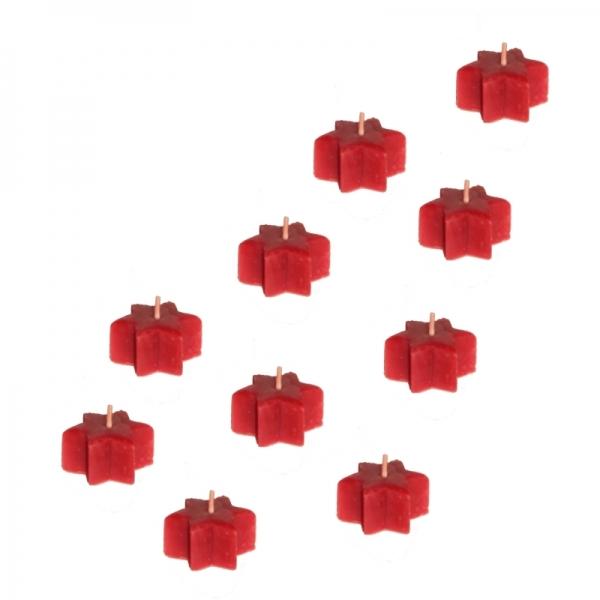 10 Sternen Teelichter rot