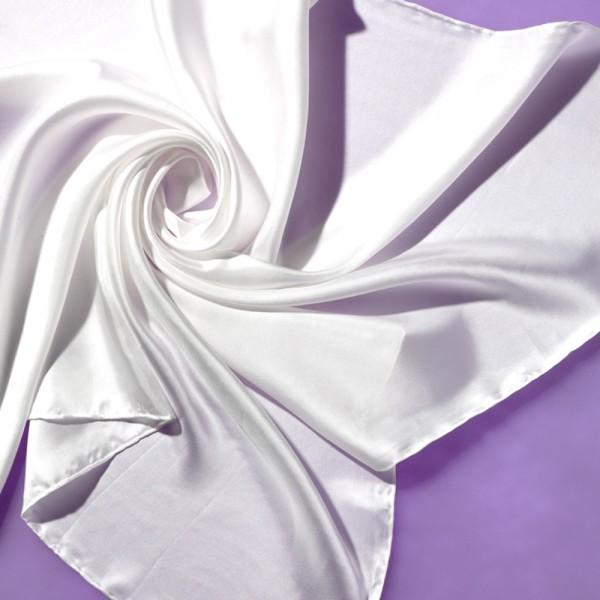 Seidentuch Halstuch Kopftuch 100 % Seide weiß 90 x 90 cm Twill 10