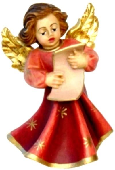 Engel mit Notenblatt, Ahornholz, farbig lasiert