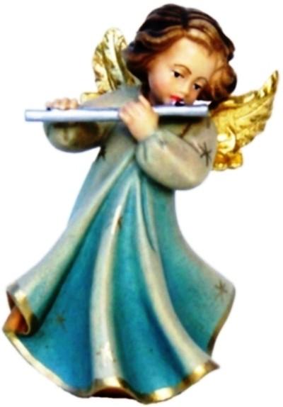 Engel mit Querflöte, Ahornholz, farbig lasiert