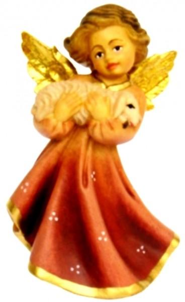 Engel mit Lamm, Ahornholz, farbig lasiert