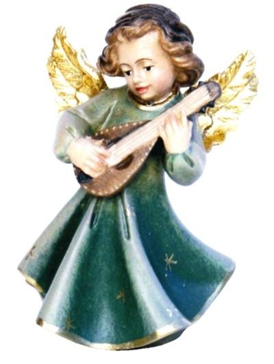 Engel mit Laute, Ahornholz, farbig lasiert