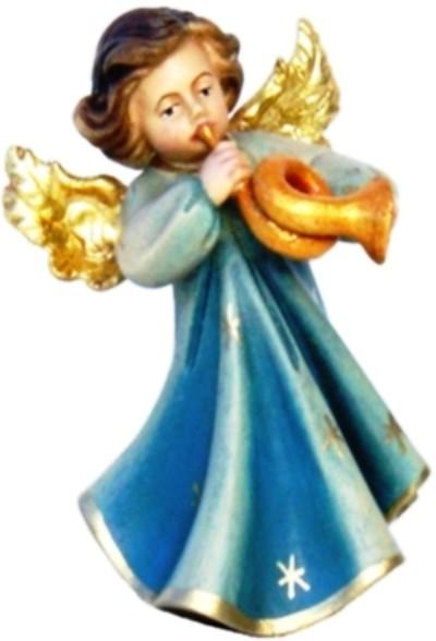 Engel mit Horn, Ahornholz, farbig lasiert