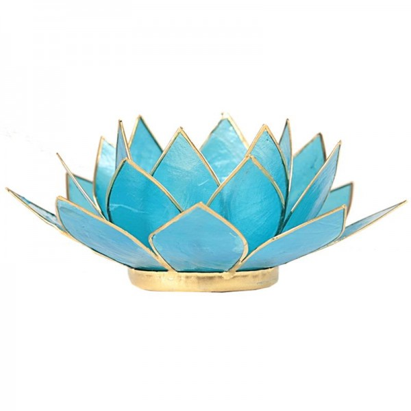 Lotus Teelichthalter, Kerzenhalter in Blau Türkis