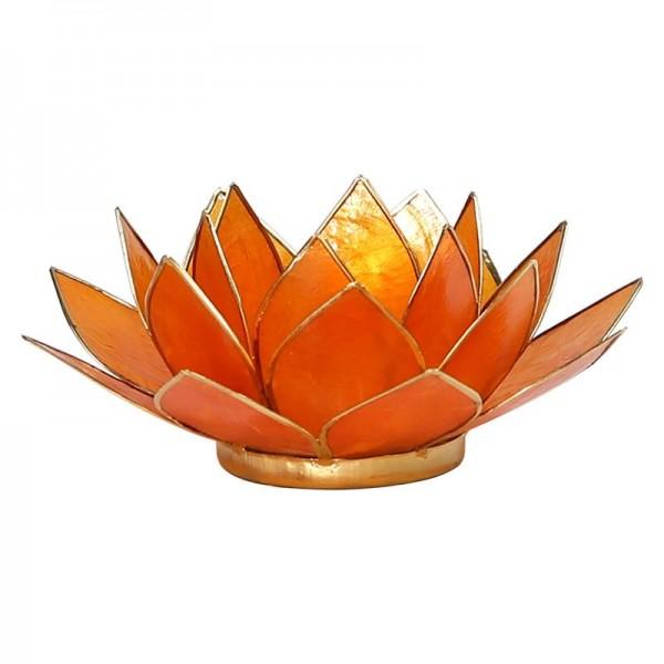 Lotus Teelichthalter, Kerzenhalter, orange