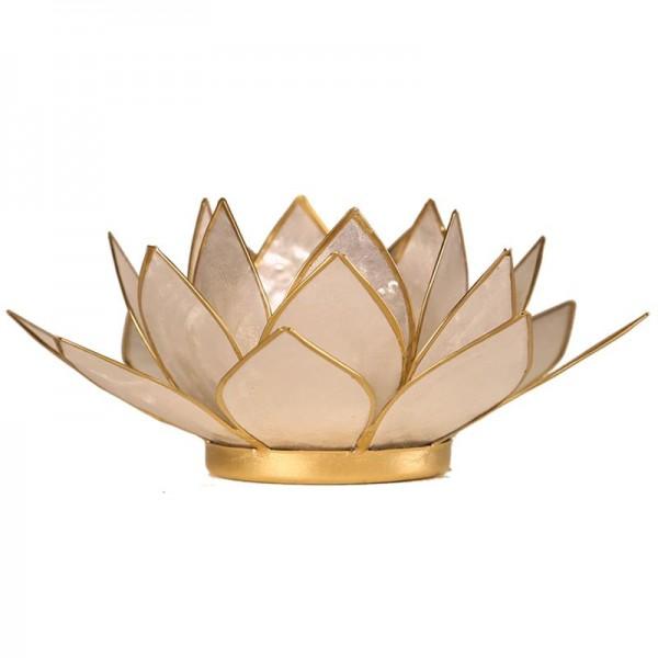 Lotus Teelichthalter, Kerzenhalter Weiß