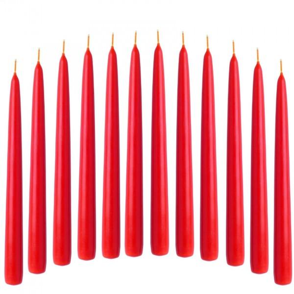 Spitzkerze Leuchterkerze rot 12 Stück 21/240 mm durchgefärbtes Wachs