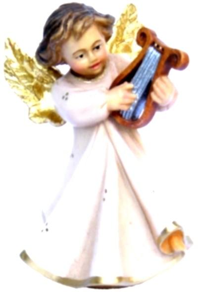 Engel mit Harfe, Ahornholz, farbig lasiert, 8 cm