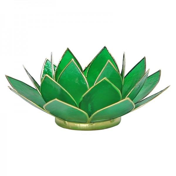 Lotus Teelichthalter, Kerzenhalter grün
